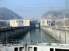 Our first glimpse of the 3 Gorges Dam project...this is one of a series of 5 ship locks that our Yangtze River Cruise would have to go through