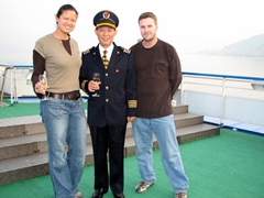 Joining the Captain of Princess Elaine cruise ship for a champagne welcome