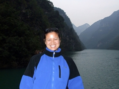 Becky is all smiles after completing the Shennong Stream excursion