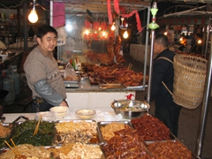 This vendor was selling a wide variety of spicy noodles