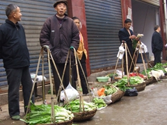 Fresh vegetables from the garden are carried to the market and offered for sale