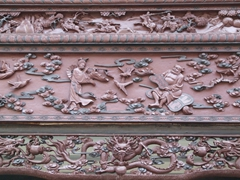 Ornately carved wood; Chongqing temple