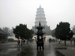 A misty afternoon view of Big Wild Goose Pagoda