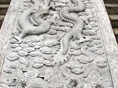 Carved dragon relief; Big Wild Goose Pagoda