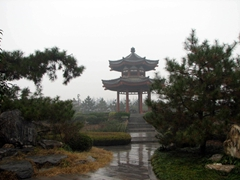 A rain soaked pagoda makes for a picturesque view at the Big Goose Pagoda