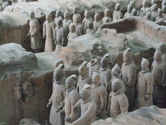Detail of the Terracotta warriors in formation (notice the warrior with the missing head? Chen explained that pre 1976, locals used the warrior's heads as flower pots, not realizing their value!)