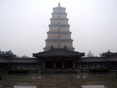 The Big Goose Pagoda was built in AD 648 to house Buddhist scriptures brought back from India by Monk Xuan Zang