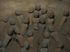 Close up view of several Han terracotta warriors...altogether, over 40,000 warriors have been excavated at Emperor Liu Qi's mausoleum