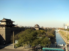 View of the exterior moat surrounding Xi'an's ancient city walls