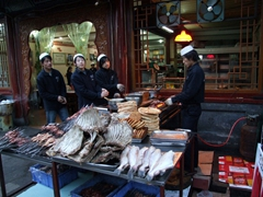 Fish and meat selections on display outside this popular eatery