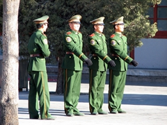 Guards preparing for a change of Guard ceremony; Forbidden City
