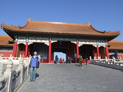 Becky strikes a pose before the Gate of Supreme Harmony