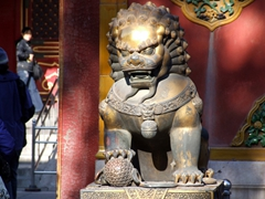 A male lion stands guard at the entrance to the Empress's dwelling