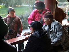 Locals are engrossed in their card game; Temple of Heaven Park