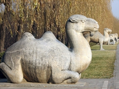 Stone animals line the sacred way