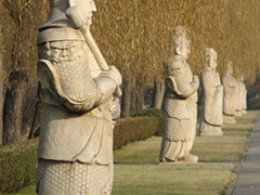 After we passed the 24 animal figurines, we came upon these human officials' carvings; Sacred Way