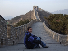 Becky enjoys a crowd-free view of the Great Wall