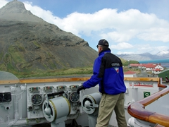 Our Polish captain, Leszek Slawski, skillfully maneuvers the Polar Star into dock at Grytviken whaling station
