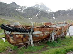 The shore around Grytviken is littered with whale bones and abandoned whaling ships