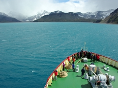 Heading towards Grytviken, which is located in Cumberland Bay