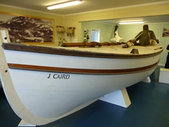 Replica of the James Caird at the Carr Maritime Gallery, which is situated in a former workshop adjacent to the South Georgia Museum