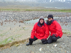 Posing in front of thousands of King Penguins and Oakum Boys; Fortuna Bay