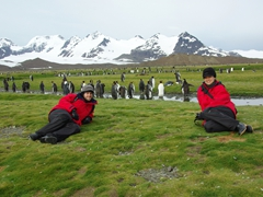 Posing on Salisbury Plains (before we reached the massive King Penguin colony)