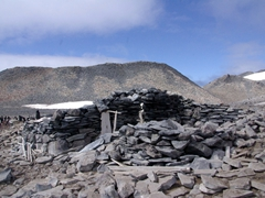 Remains of the Nordenskjold/Larsen hut, which was built by Larsen's men when their ship was crushed in pack ice, and they sought refuge on Paulet Island. They spent the winter of 1903 here, eating penguins to survive
