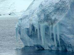 Large icicles drape off this interesting iceberg; near Paulet Island
