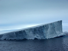The remnants of what appears to be a large tabular iceberg