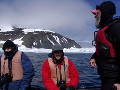 Robby smiles as Rod Planck navigates our zodiac around Paulet Island