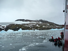 Loading onto the zodiacs for some spectacular cruising around Cierva Cove