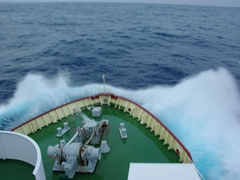 Navigating through the Drake Passage, the body of water from Cape Horn to the Antarctic Peninsula. It is known as the roughest ocean in the world and we took it easy during our crossing