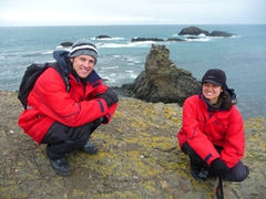 Posing cliff side on pretty Hannah Point, which is on the south coast of Livingston Island in the Antarctic