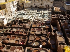 The dye pits of the Fes tanneries; Morocco