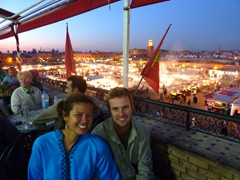 "Enjoying the view of Djamaa El Fna square from the rooftop cafe of ""Le Grand Balcon du Cafe Glacier""; Morocco"