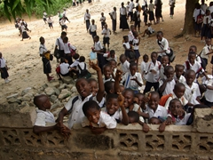 Attention hungry students ham it up for the camera in Matadi; Democratic Republic of Congo