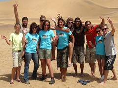 Group photo after our awesome sand boarding experience; Swakopmund, Namibia