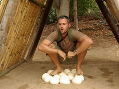 Robby tests the theory about how strong ostrich eggs are (and it proves to be true as the sturdy eggs don't even crack beneath his weight); South Africa