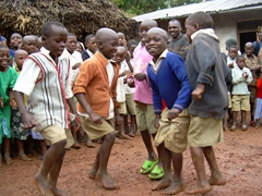 The boys put on a dance show for us; Kyabahinga Orphanage, Uganda