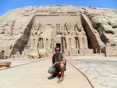 Robby poses in front of Abu Simbel Temple; Egypt