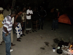 It is tradition to share songs and dance on the second night in the Okavango Delta. Here, our guides and polers put on a show