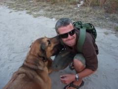 Robby getting some dog love; Maun