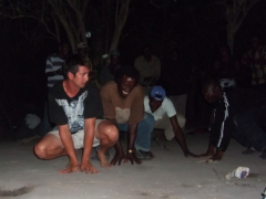 Luke getting amongst it with our guides and polers in the Okavango Delta