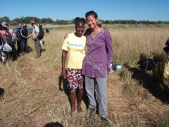 Grace (our poler) and Becky at the end of our 3 Day Okavango Delta tour