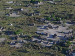 Aerial view of a traditional Okavango Delta village