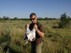 Robby holds up the remains of a giraffe skull; Okavango