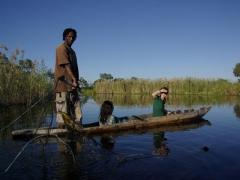 A poler shows us his fish for dinner; Okavango Delta