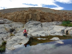 Becky rests next to a guelta in Afilal; near Assekrem