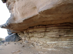 Eroded sand stone near site of paintings; Tamgs Kis